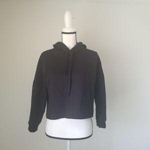 Zara Black oversized cropped pullover hoodie Sz S
